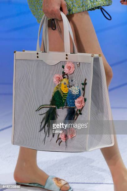 Bag detail at the Anya Hindmarch show during London Fashion Week September 2017 on September 17 2017 in London England