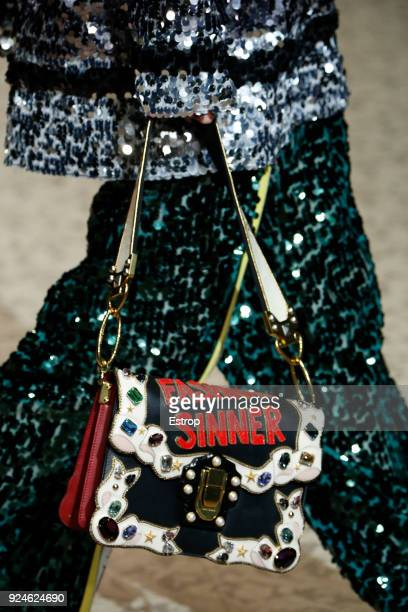 Bag detail at the Dolce Gabbana show during Milan Fashion Week Fall/Winter 2018/19 on February 25 2018 in Milan Italy