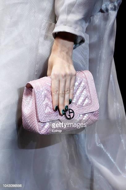 Bag detail at the Giorgio Armani show during Milan Fashion Week Spring/Summer 2019 on September 23, 2018 in Milan, Italy.
