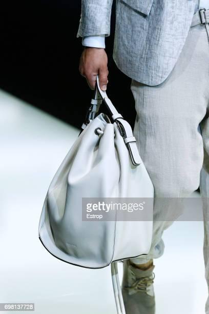 Bag Detail at the Giorgio Armani show during Milan Men's Fashion Week Spring/Summer 2018 on June 19, 2017 in Milan, Italy.