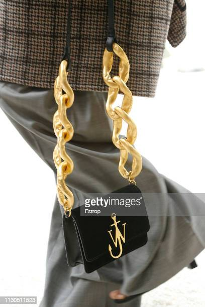 Bag detail at the JW Anderson show during London Fashion Week February 2019 at the Yeomanry House on February 18 2019 in London England