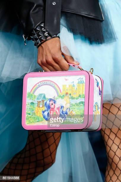 Bag Detail at the Moschino show during Milan Fashion Week Spring/Summer 2018 on September 21 2017 in Milan Italy