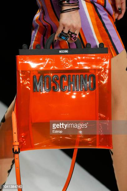 Bag detail at the Moschino show during Milan Fashion Week Spring/Summer 2019 on September 20 2018 in Milan Italy