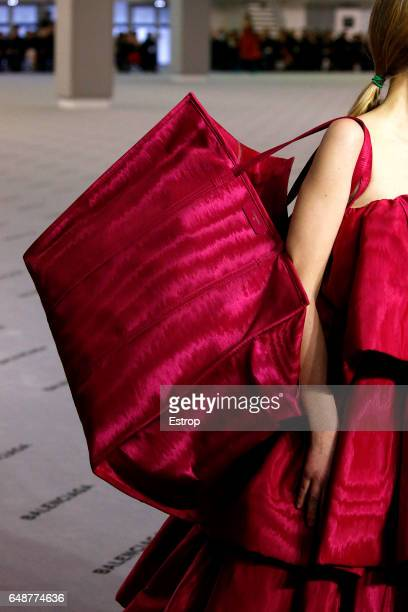 Bag detail at the runway during the Balenciaga show as part of the Paris Fashion Week Womenswear Fall/Winter 2017/2018 on March 5 2017 in Paris France