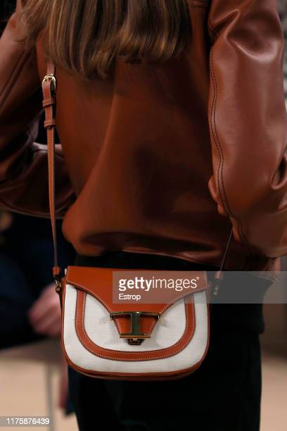 Bag detail at the Tod's show during the Milan Fashion Week Spring/Summer 2020 on September 20, 2019 in Milan, Italy.