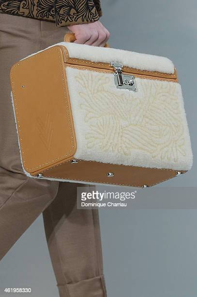 A bag detail is seen as a model walks the runway during the Louis Vuitton Menswear Fall/Winter 20152016 show as part of Paris Fashion Week on January...