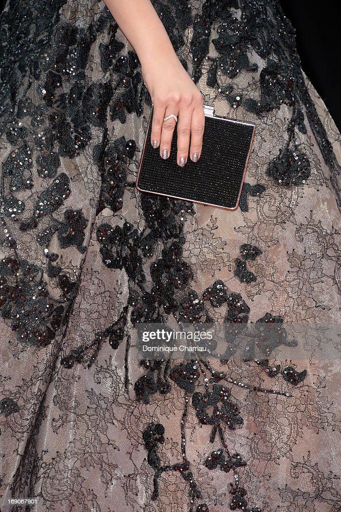 A bag detail is seen as Aishwarya Rai attends the Premiere of `Inside Llewyn Davis` during the 66th Annual Cannes Film Festival at Palais des...