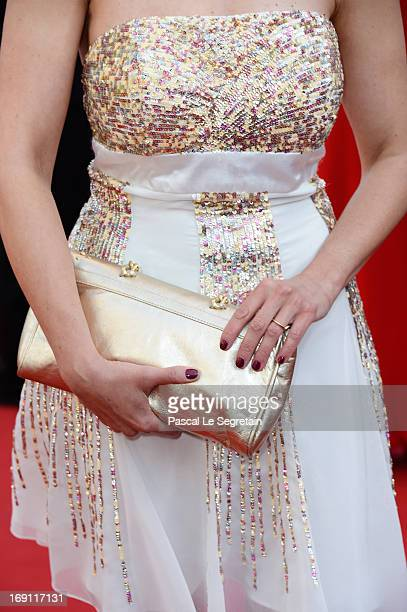 A bag detail is seen as Nathalie Renoux attends the 'Blood Ties' Premiere during the 66th Annual Cannes Film Festival at the Palais des Festivals on...