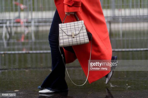 A bag detail outside Dries Van Noten on March 1 2017 in Paris France