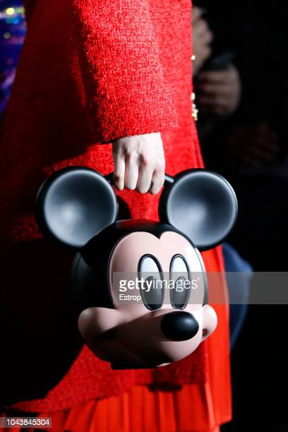 Bag detail with Mickey at the Gucci show during Paris Fashion Week Spring/Summer 2019 on September 24 2018 in Paris France