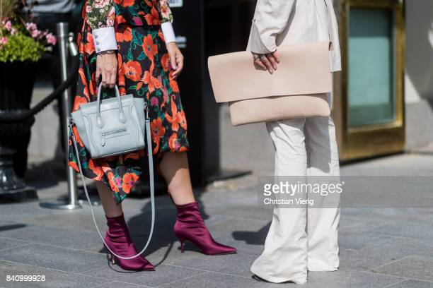 Bag details Phillip Lim bag and NO/AN clutch outside Whyred on August 30 2017 in Stockholm Sweden