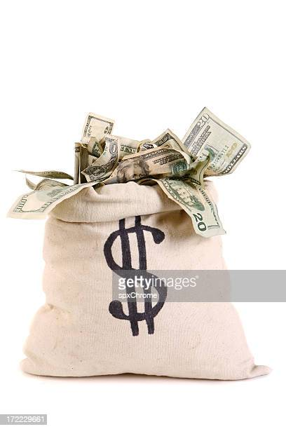 bag full of money - money bag stock pictures, royalty-free photos & images