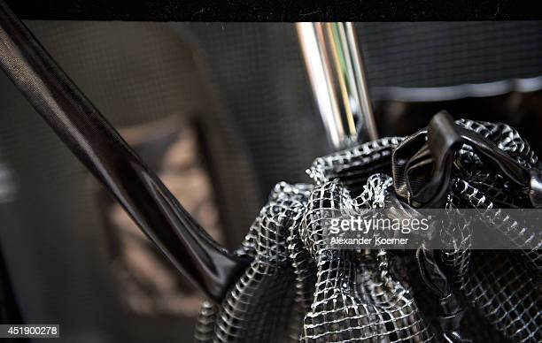 A bag made out of nylon fabrics is presented at Fashion Design Exhibition at Hotel Adlon during the MercedesBenz Fashion Week Spring/Summer 2015 at...