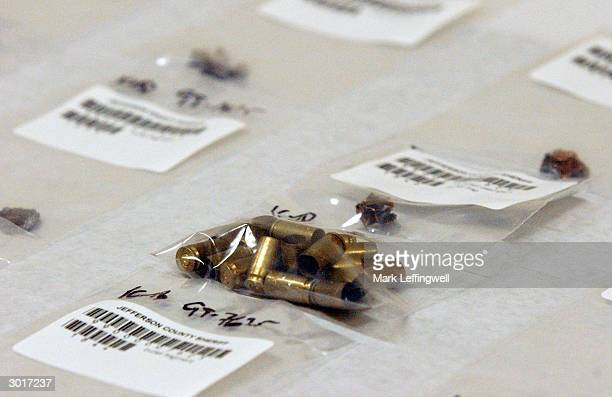 A bag of 9mm shell casings are shown on display at the Jefferson County Fairgrounds February 26 2004 in Golden Colorado Columbine students Eric...