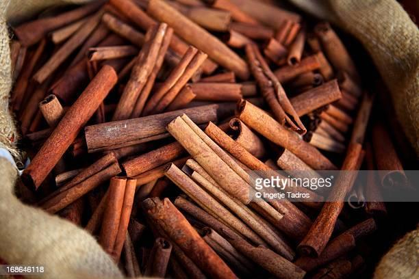 Bag of cinnamon on display