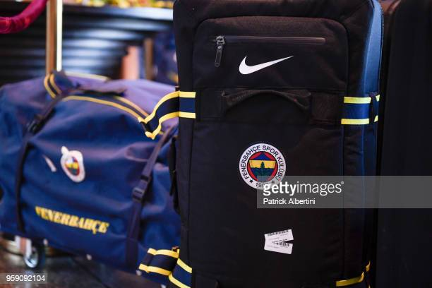 Bag of Fenerbahce Dogus Istanbul during the Fenerbahce Dogus Istanbul Arrival to participate of 2018 Turkish Airlines EuroLeague F4 at Hyatt Regency...