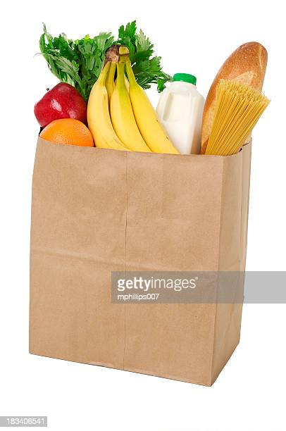 bag of groceries - food pyramid stock photos and pictures
