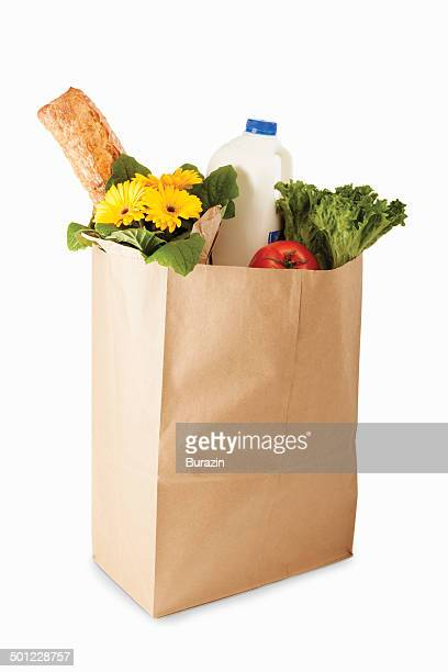 bag of groceries - bag stock pictures, royalty-free photos & images