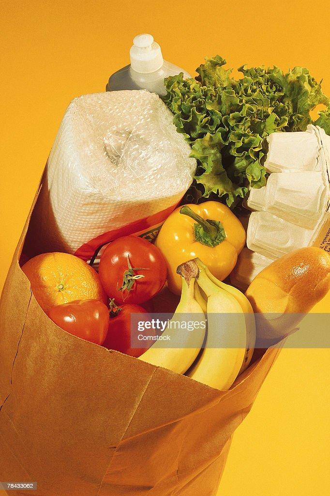Bag of groceries : Stockfoto