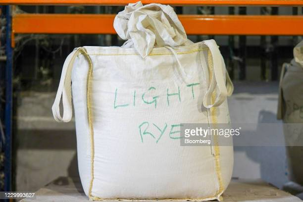 Bag of light rye flour at Gilchesters Organics flour mill in Stamfordham, U.K., on Monday, Nov. 30, 2020. The mill waslucky whena year's worth of...