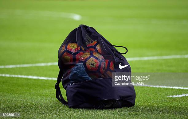 A bag of Nike Ordem winter match balls before the Premier League match between West Ham United and Burnley at London Stadium on December 14 2016 in...