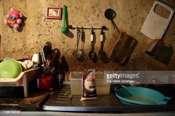 A bag of rice in Yunni's kitchen at La Bombilla Slum Petare on April 18 2019 in Caracas Venezuela With a kilo of rice Yunni will feed her five...