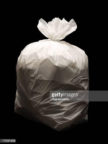 Bag of trash on a black background