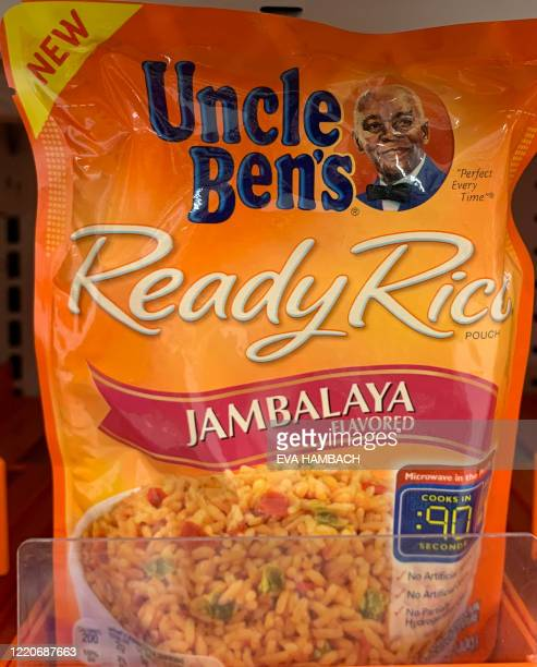 A bag of Uncle Ben's rice is seen on a store shelf on June 17 2020 in WashingtonDC Amid nationwide protests against racism major US food companies on...