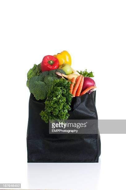 バッグの野菜白で分離