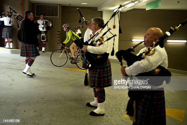 Bag pipers practice in a parking garage May 14 2012 in Washington DC prior to the 18th Annual Emerald Society Pipeband March and Service to the...