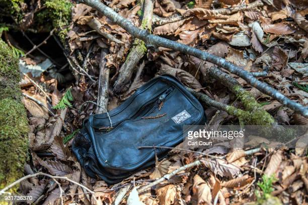A bag remains at the scene of an apparent suicide in Aokigahara forest on March 13 2018 in Fujikawaguchiko Japan Aokigahara forest lies on the on the...