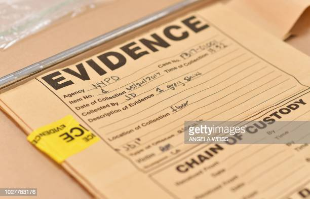 A bag to collect forensic evidence is seen as the New York City Office of Chief Medical Examiner hosts DNA Extraction demonstration to unveil...
