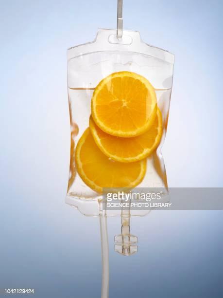 IV bag with orange slices