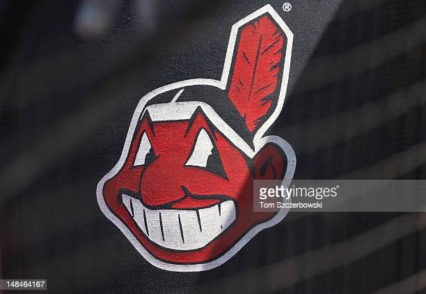 A bag with the Cleveland Indians logo sits on the field during batting practice before MLB game action against the Toronto Blue Jays on July 14 2012...