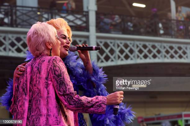 Baga Chipz and Denise Welch on stage at RuPaul's DragCon UK presented by World Of Wonder at Olympia London on January 19 2020 in London England
