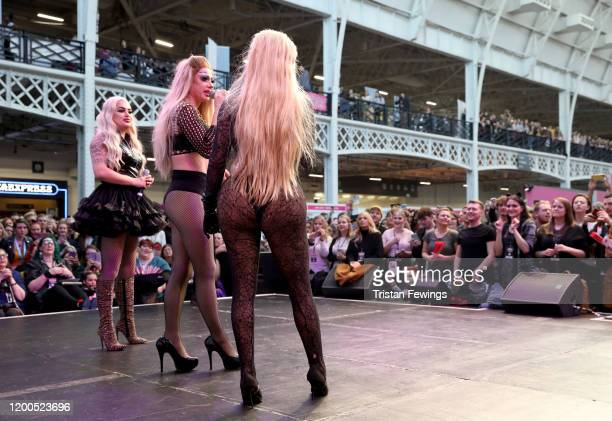 Baga Chipz Davina De Campo and Blu Hydrangae aka The Frock Destroyers perform on stage at RuPaul's DragCon UK presented by World Of Wonder at Olympia...