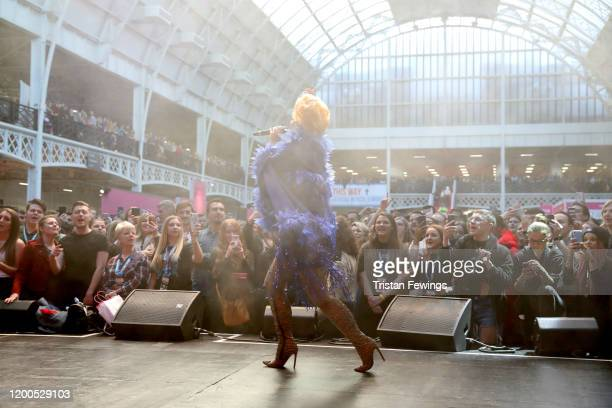 Baga Chipz performs on stage at RuPaul's DragCon UK presented by World Of Wonder at Olympia London on January 19 2020 in London England