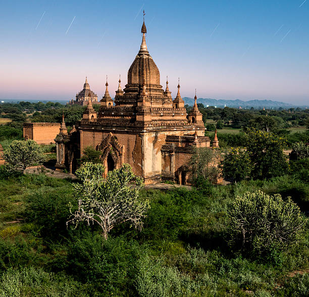 Bagan, ancient temple lit by moonlight