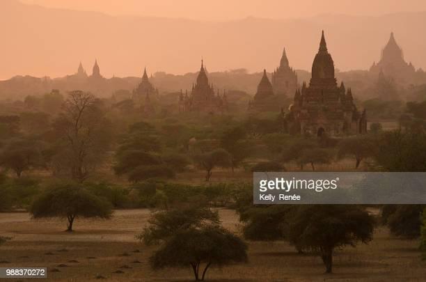bagan at dusk - burmese cat stock pictures, royalty-free photos & images