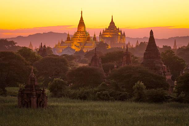 Bagan Pagoda Field During Sunset Wall Art