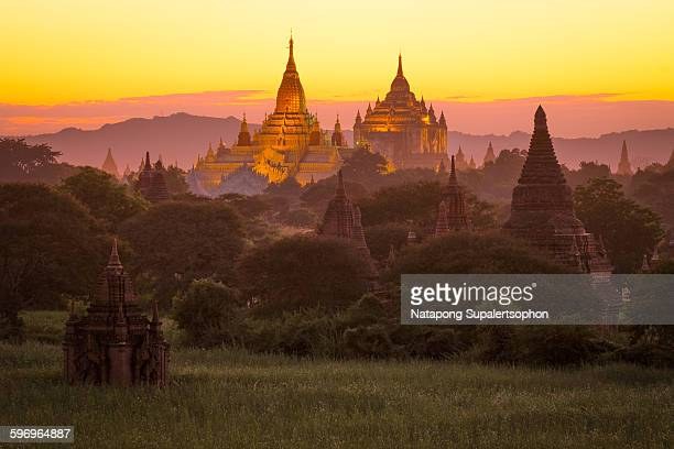 Bagan Pagoda field during sunset