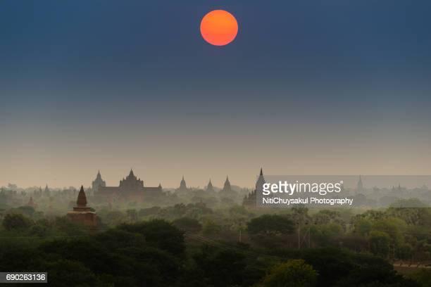 Bagan Pagoda field during sunset