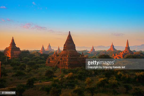 Bagan pagodas during sunrise
