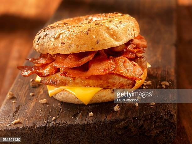 Bagel, Bacon and Sausage Breakfast Sandwich