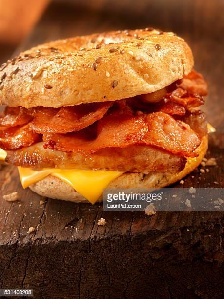 Bagel, Bacon and Sausage Breakfast Sandwich