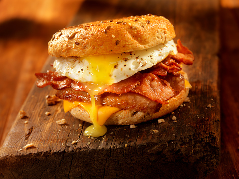 Bagel, Bacon, Sausage and Egg Breakfast Sandwich 531403492