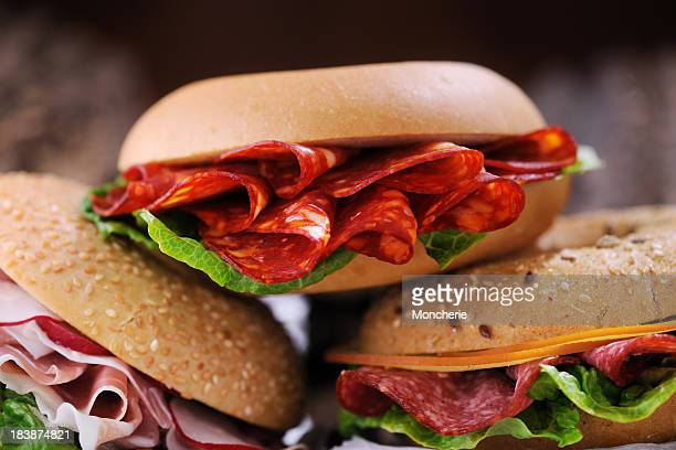 bagel sandwiches - pepperoni stock photos and pictures