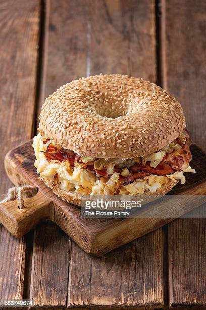 Bagel with bacon and scrambled eggs