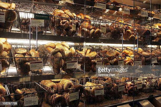 Bagels are displayed for sale at a Manhattan grocery store on August 6 2010 in New York City As a result of drought and an outbreak of wildfires that...