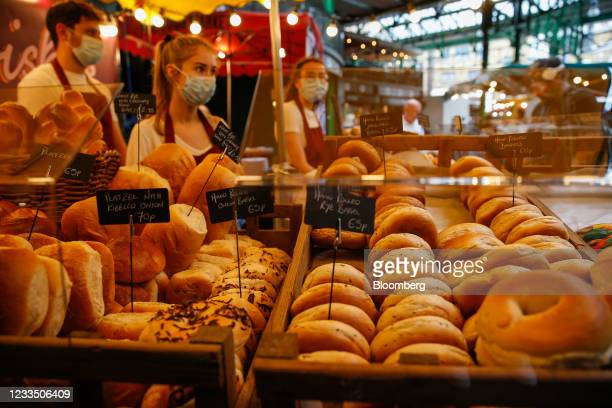 Bagels for sale in Borough Market in London, U.K., on Thursday, June 17, 2021. U.K. Chancellor of the Exchequer Rishi Sunak said rising prices are...